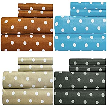 dot print best quality bedding sheet set extra deep pockets fitted sheets luxury super soft microfiber piece taupe queen polka twin black white navy xl gray