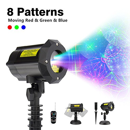 ShiRui Garden Laser Light, Outdoor Christmas Laser Light Projector Holiday, Party, Hallowmas, Landscape Decorations Waterproof Moving 8 Patterns with Wireless Remote Control and Security Lock by ShiRui
