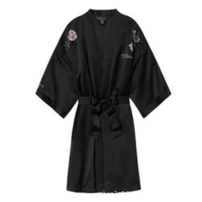 Batas Y Kimonos para Mujer Pijamas Bordados Mostrar Pijamas De Seda Desnudos Camisón De Seda Batas De Dormir Nupciales, Negro, Talla Única: Amazon.es: Ropa ...