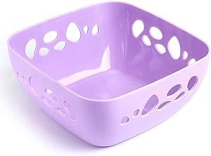 vertice Household Storage Bowls Fruit Bowls Fruit Basket Fruit Bowls Snack Plate Large Hollow Drain Basket Plastic Food Basket Purple