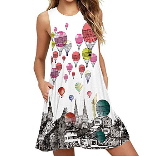 GLUDEAR Women's Sleeveless Pleated Loose Swing Casual Dress,Multicolored Hot Air Balloon,XL