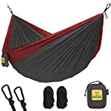 Hammock for Camping Single & Double Hammocks - Top Rated Best Quality Gear For The Outdoors Backpacking Survival or Travel - Portable Lightweight Parachute Nylon SO Charcoal & Red