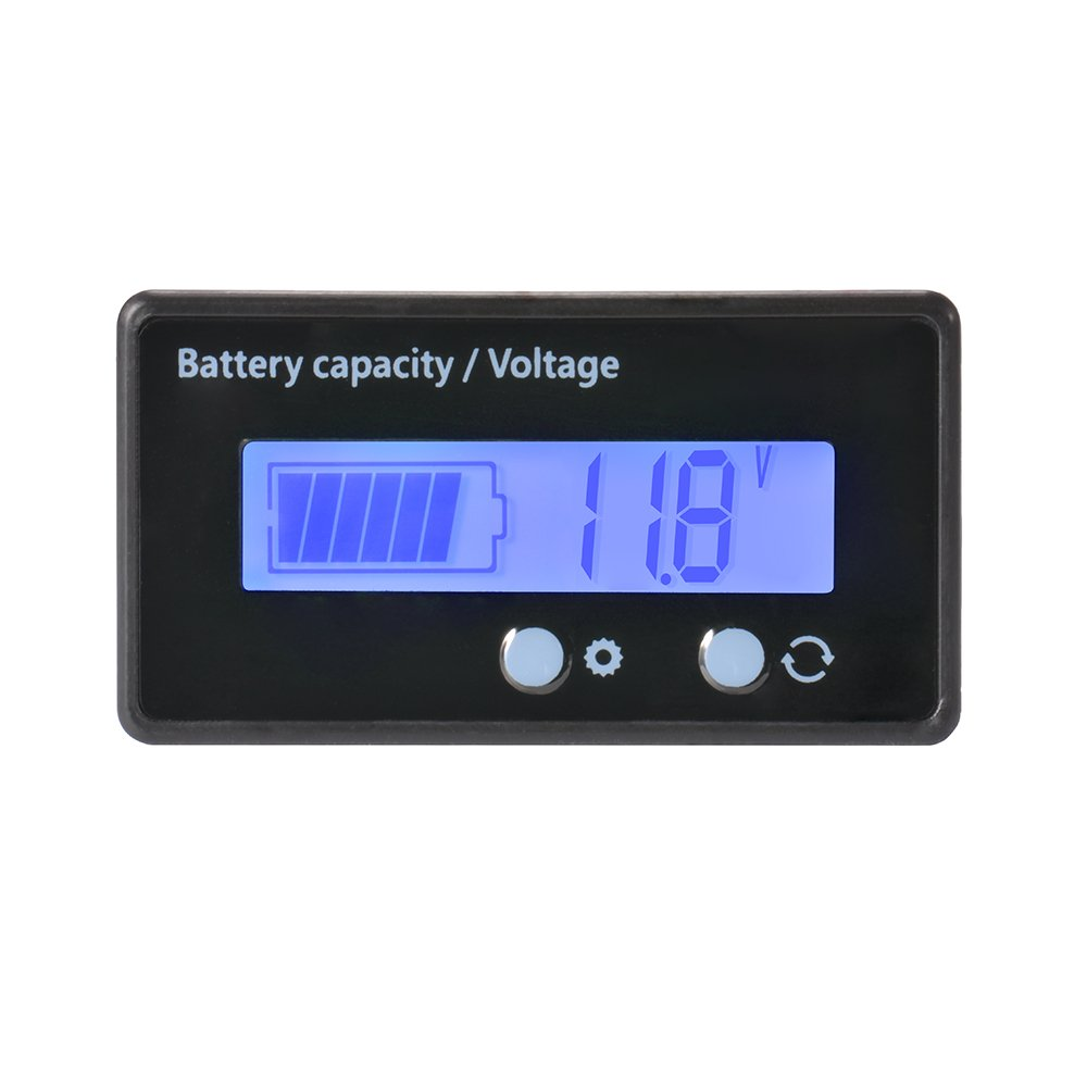 XCSOURCE Waterproof 12/24/36/48V LCD Lead-acid Battery and Lithium Battery Capacity Tester Voltage Meter Monitor Blue Backlight for Vehicle Battery BI728