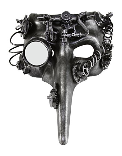 KAYSO INC The Plague Doctor Victorian Steampunk Bauta Full Face Masquerade Mask (Rustic Silver) (Halloween Doctors)