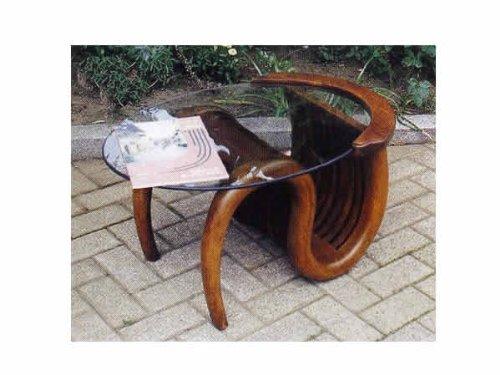 ガーデンファニチャー:ミニチークガラステーブル(塗装品)【商品番号:36322】 B005H965HG