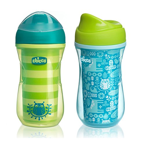Chicco NaturalFit Insulated Rim Spout Trainer Sippy Cup, Green/Teal, 9 Ounce, 2 Count