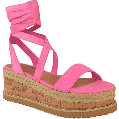 Fashion Thirsty Heelberry® Womens Ladies Flatform Cork Espadrille Wedge Sandals Ankle Lace up Shoes Size Barbie Pink Faux Suede RhLFVGxsGV