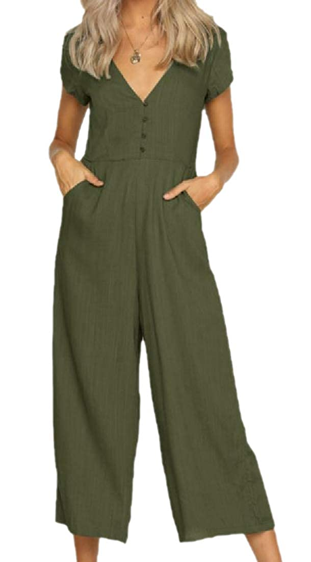 YUNY Women Long Maxi Solid Color Slim Casual Overall Jumpsuits Army Green XS