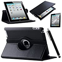 PU in pelle con rotazione a 360° per iPad con protezione schermo e penna stilo touch by reedax® nero Black iPad Air 1