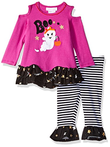 Bonnie Baby Baby Girls Holiday Dresses and Legging Sets, Fuchsia Ghost, 12M -