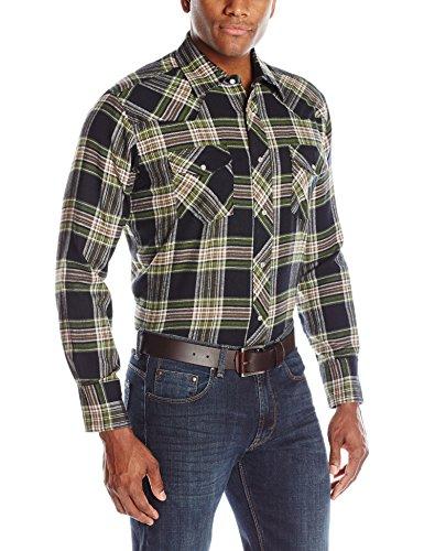 Wrangler Men's Western Flannel Shirt Lightweight, Assorted Plaid, Large