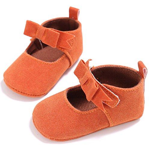 Auxma Zapatos de bebé,Zapatos de cuna de algodón para niños pequeños Soft Sole prewalker naranja