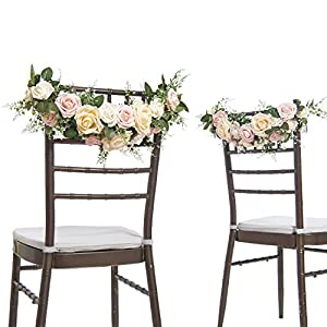 Ling's moment Nearly Natural Rose and Peony Spring Blooms Chair Banners Wedding Arch Wedding Chair Decoration Centerpiece Silk Flower Arrangement, Mixed Flower(Pack of 2) 5