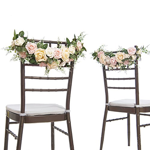 Ling's moment Chair Decor for Wedding Chair Banners for Wedding Chair Signs Garland Bride and Groom Floral Chair Decor (Pack of 2) ()