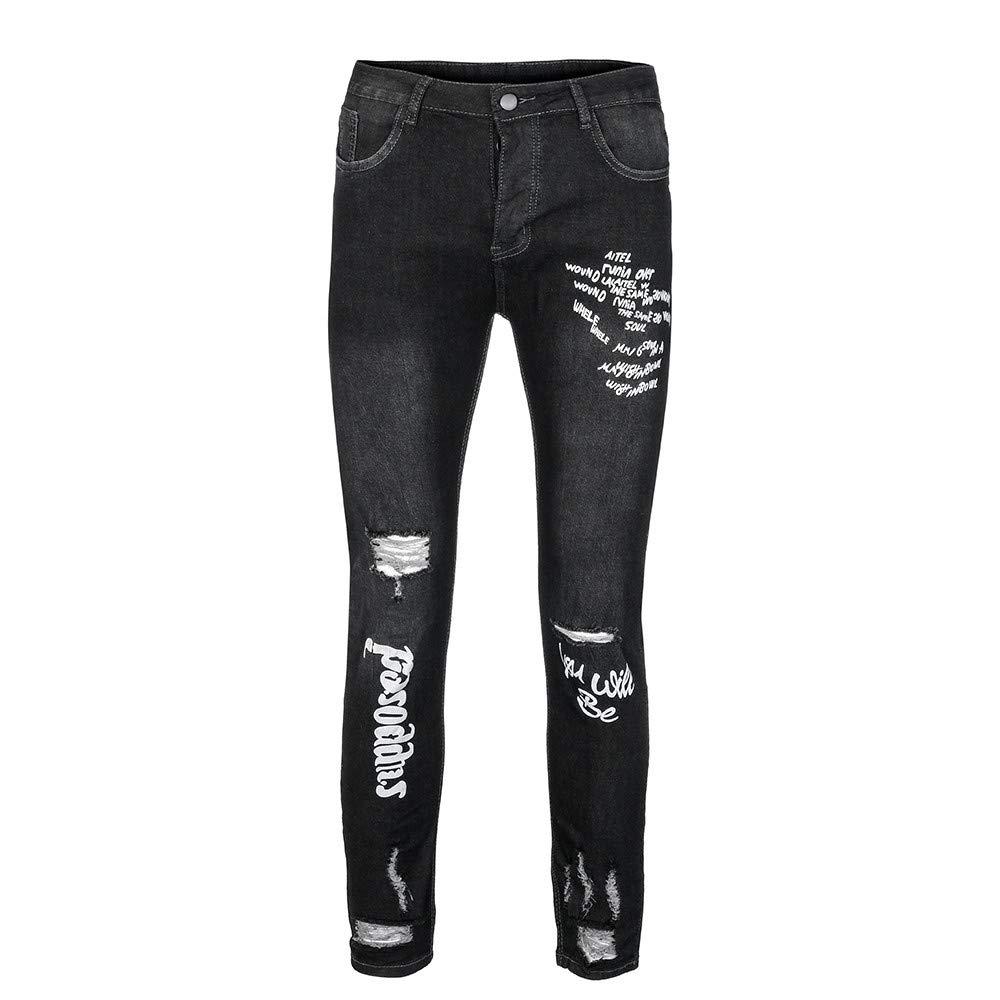 Vaqueros de Moda Hombre 2019 Pantalones Rotos con Estampado de Agujeros elásticos para Hombre Pantalones chandals Hombre Pitillo Amlaiworld: Amazon.es: Ropa ...