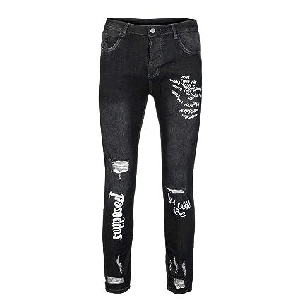 Pantalones Vaqueros Rotos Hombre Jeans Pantalones Vaqueros Elásticos Skinny Slim Fit Delgados,Hombres Nuevo Negro Elástico Pie Agujeros Impresión ...