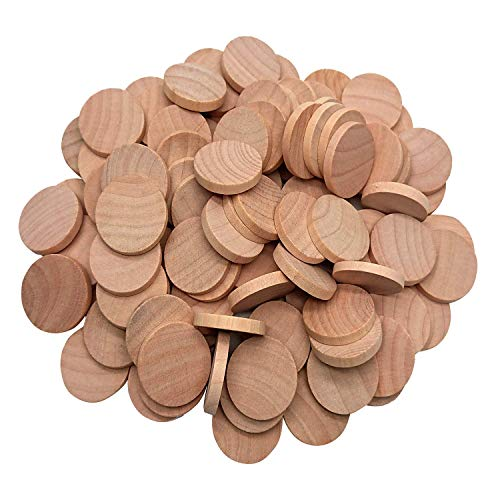 AxeSickle Natural Wood Slices 1 inch Unfinished Round Wood 100PCS These Round Wood Coins for Arts & Crafts Projects, Board Game Pieces, Ornaments, The Limitations Are Endless!