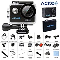 Acko 4K Wifi Sports Action Cam Camcorder Ultra HD Digital Camera DV 12MP High Speed Image 720 Degrees Wide Angle 2 TFT LCD Screen+2.4G Remote Control+2x 1050mAh Batteries+Mounts+Carrying Bag