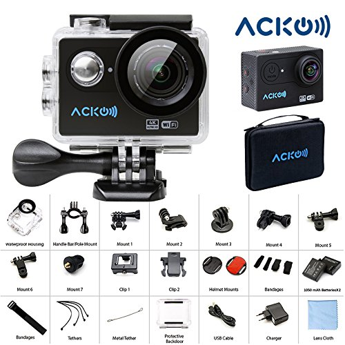 "Acko 4K Wifi Sports Action Ultra HD Digital Camera Camcorder DV 12MP High Speed Image 720 Degrees Wide Angle 2"" LCD Screen 2.4G Remote Control/2x 1050mAh Rechargeable Batteries/Mounting Kits Acko Action Cameras"