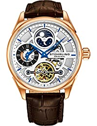 Men's Luxury Skeleton Dress Watch, Automatic Wristwatch, Rose Gold Accents and Silver Dial, Brown Leather Calfskin...