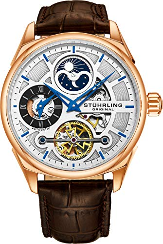 Stuhrling Original Men's Luxury Skeleton Dress Watch, Automatic Wristwatch, Rose Gold Accents and Silver Dial, Brown Leather Calfskin Band