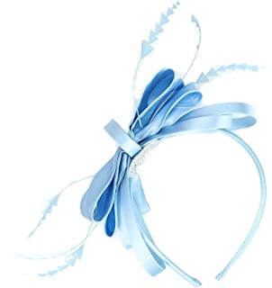 Quality Pale Blue Satin Bow and Loops with Shaped Feathers Hair Fascinator  on Headband - Fabulana 2d93559d373