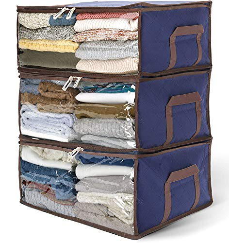 """Titan Mall Clothing Organizer Bags Bamboo Charcoal Fiber Storage Units for Clothes 19""""x14""""x8"""" Royal Blue, Pack of 3"""