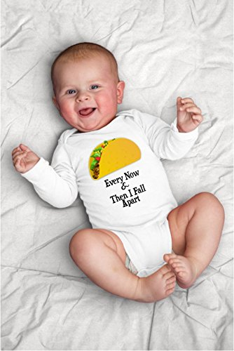 Funny Every Now and Then I Fall Apart Hard Shell Taco Baby Bodysuit With Mexican Food Puns, - Hipster Products