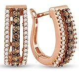 "10K Rose Gold U Shape Hoop Huggie Channel Set Chocolate Brown & White Diamond Earrings (Approx. 1/2"") (.48 cttw.)"
