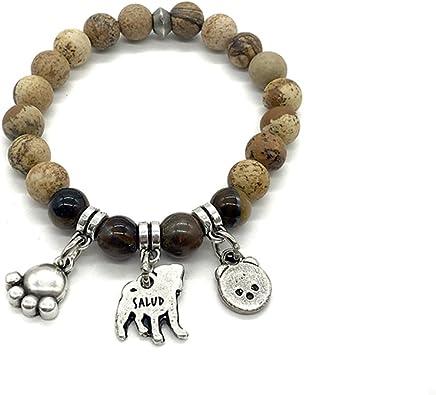 Pulseras con mensaje, de piedra y plata, amantes de los animales - Hechas a mano en España - Serie Dog Energy de Perrinho (marrón): Amazon.es: Joyería
