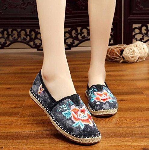 stile Scarpe GuiXinWeiHeng casual dell'aumento ricamate comodo a suola moda xiuhuaxie scarpe etnico tendina donna all'interno da black YRRq51w