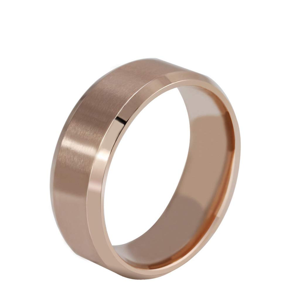 WoCoo Men's Fashion Black Titanium Steel Ring Plain Wedding Band Polished Charm Matte Finished Ring(Rose Gold,11)