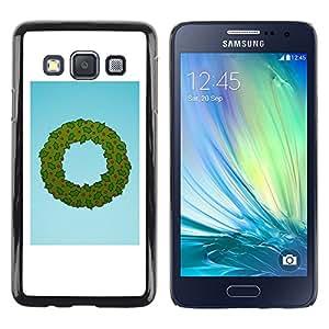 LECELL--Funda protectora / Cubierta / Piel For Samsung Galaxy A3 SM-A300 -- Wreath Christmas Holidays Winter Santa --