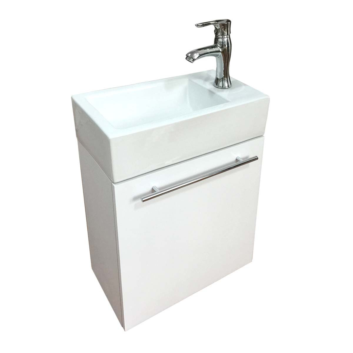 Bathroom Sink White Vanity With Towel Bar, Faucet And Drain Wall Mount Storage | Renovator's Supply