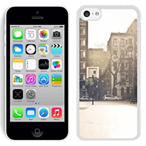 Beautiful Designed Antiskid Cover Case For iPhone 5C Phone Case With City Basketball Court_White Phone Case