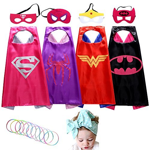 Superhero Dress Up Costumes Girl Cape and Mask set of 4 with Silicone Glow Bracelets and Hair Band