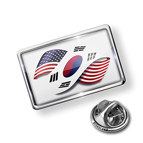 Pin Infinity Flags USA and South Korea - Lapel Badge - NEONBLOND (Usa Korea Lapel Pin)