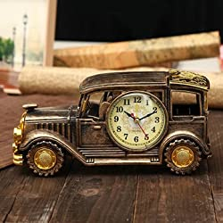 Simulation Vintage Car Alarm Clock Multifunctional Pencil Vase Antique Car Model Creative Decor^.