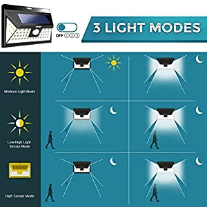 Solar Outdoor Patio Deck Lights 48 LED - Outside Motion Sensor Security Sun Powered Lighting For Yard, Backyard, Pathway, Driveway | Wide Angle