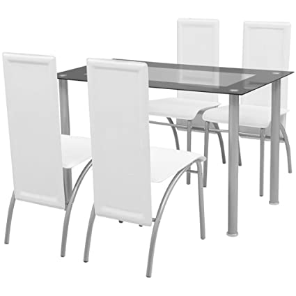 Festnight- Set Sala da Pranzo/Tavolo Cucina con sedie 5 Pezzi Bianco ...