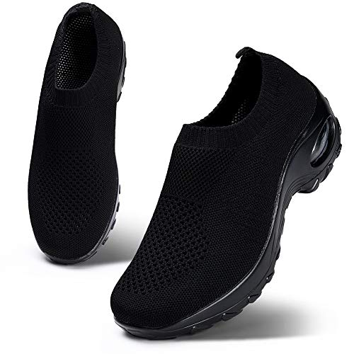 HKR Womens Walking Tennis Shoes Slip On Light Weight Mesh Platform Nurse Working Shoes Air Cushion Sneakers All Black 9.5(ZJW1868quanhei42)