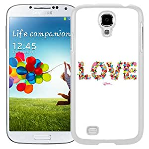 NEW Unique Custom Designed Samsung Galaxy S4 I9500 i337 M919 i545 r970 l720 Phone Case With Love Floral Typography_White Phone Case