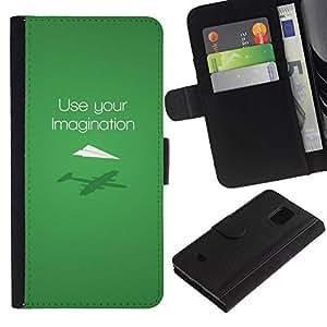 All Phone Most Case / Oferta Especial Cáscara Funda de cuero Monedero Cubierta de proteccion Caso / Wallet Case for Samsung Galaxy S5 Mini, SM-G800 // Use your imagination