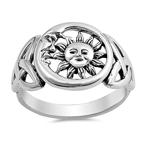 Sun Moon Universe Cute Ring New .925 Sterling Silver Celtic Knot Band Size (Celtic Sun Moon)