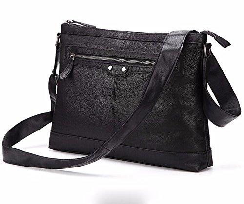 Shoulder Bag casual de 13 Surnoy 's cuero cremallera Pure bolso Color horizontal Men Satchel business pulgadas negro genuino gqPwO8