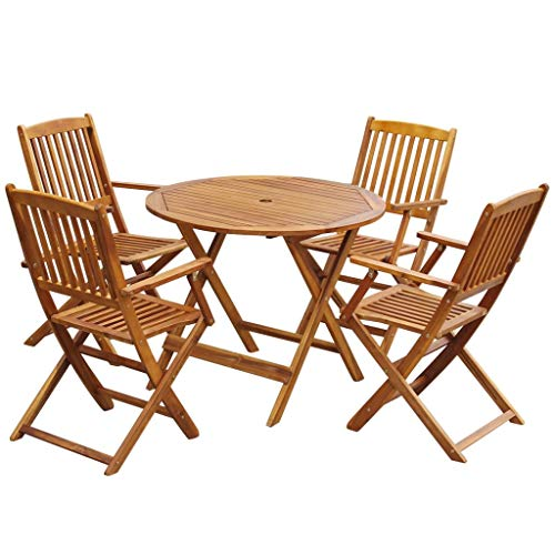 Festnight 5 Piece Wooden Outdoor Patio Dining Set Round Folding Table with 4 Foldable Chairs Eucalyptus Wood Outdoor Furniture Space Saving for Garden Backyard Terrace Balcony