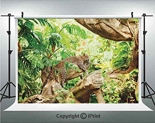 Safari Decor Photography Backdrops Leopard on the Branch in Savanna Exotic Macro Tropical Leaf Jungle Wild Nature Art Photo,Birthday Party Background Customized Microfiber Photo Studio Props,5x3ft,Bro