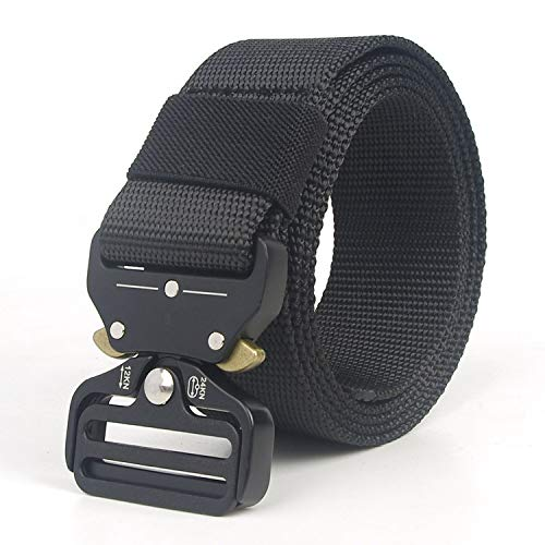 Men&Women Tactical Belt 90-200+cm Quick release Military Nylon Belt Outdoor multifunctional Training Belt,Black,130cm