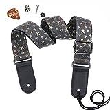 HOT SEAL Adjustable Genuine Leather Metal Hook Ukulele Strap Strong Back Straps (Black denim star)