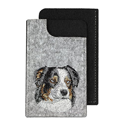 Australian Shepherd, A felt phone case with an embroidered image of a - Shepherd Embroidery Australian